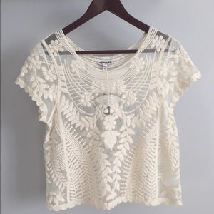 Express Sheer Lace Blouse Top Short Sleeve Cream